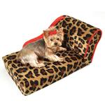 View Image 1 of Leopard Chaise Lounge Dog Bed