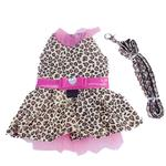 View Image 1 of Leopard Harness Dog Dress and Leash - Pink