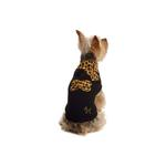 View Image 1 of Leopard Scarf Dog Sweater by NY Dog - Black