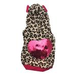 View Image 1 of Leopard Sequins Heart Dog Hoodie