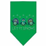 Let it Snow Penguins Rhinestone Dog Bandana - Green
