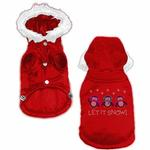 View Image 1 of Let it Snow Penguins Rhinestone Dog Coat - Red