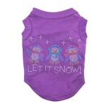 Let it Snow Penguins Rhinestone Dog Shirt - Purple