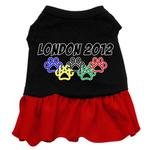 View Image 1 of London 2012 Paws Dog Dress - Black with Red Skirt