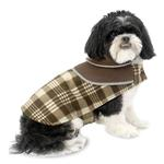View Image 1 of Manchester Fleece Dog Coat  - Brown Plaid
