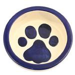 View Image 1 of Melia Paw Ceramic Pet Bowl - Moody Dark Blue