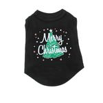 Scribbled Merry Christmas Screenprint Dog Tank Top - Black