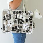 View Image 2 of Metro Slant Pocket Dog Tote - Neutral Floral