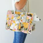 View Image 2 of Metro Slant Pocket Dog Tote - Pink/Yellow Floral