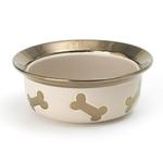 View Image 1 of Napa Matte Metallic Dog Bowl - Champagne