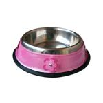 View Image 1 of Patent Leather & Stainless Steel Dog Bowl - Pink Flowers