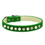 View Image 1 of Pearl & Crystal Dog Collar - Green Velvet