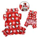 View Image 2 of Penguins and Snowflakes Flannel Dog Pajamas by Klippo - Red