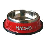 View Image 1 of Personalized Dog Bowl with Letter Strap - Red