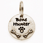 View Image 1 of Pewter Dog Collar Charm: Bone Hunter