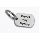 View Image 1 of Pewter Dog Collar Charm or Cat Collar Charm: Paws for Peace