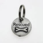 View Image 1 of Pewter Dog Collar Charm or Cat Collar Charm: Rescued Bone
