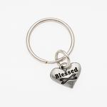 Pewter Pet Lover Keychain - Blessed Dog Bone