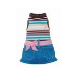 View Image 1 of Pink Stripe Denim Mini Skirt Outfit by Hip Doggie
