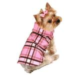 View Image 1 of Plaid Dog Raincoat - Pink