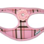 View Image 1 of Plaid Step-In Dog Harness - Pink