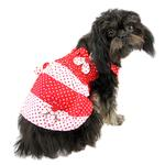 View Image 4 of Polka Dot Dog Sundress by Klippo - Red and White