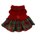 View Image 1 of Red Velvet Plaid Dog Dress