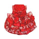 View Image 3 of Red, White and Gold Organza Dog Dress