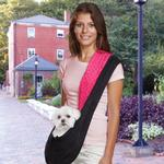 View Image 1 of Reversible Sling Dog Carrier - Pink/Black
