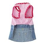View Image 2 of Riley Denim Dress for Dogs - Pink