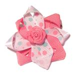 View Image 1 of Rosette and Dots Dog Bow - Pink and Blue