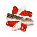 View Image 2 of Rosette and Dots Dog Bow - Red and White