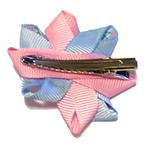 View Image 2 of Rosette and Flowered Ribbon Dog Bow - Pink and Blue