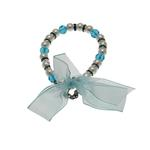 View Image 1 of Satin Bow Pearl Dog Necklace - Blue