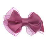 View Image 1 of Satin Dog Hair Bow with Alligator Clips - Colonial Rose