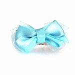 View Image 1 of Satin Dog Hair Bow with Alligator Clips - Light Blue