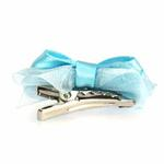View Image 2 of Satin Dog Hair Bow with Alligator Clips - Light Blue