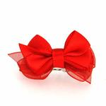 View Image 1 of Satin Dog Hair Bow with Alligator Clips - Red