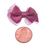View Image 3 of Satin Dog Hair Bow with Alligator Clips - Colonial Rose