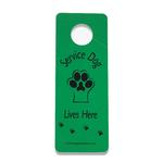 View Image 1 of Service Dog Lives Here Door Hanger - Green