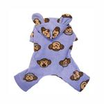 View Image 2 of Silly Monkey Fleece Hooded Dog Pajamas by Klippo - Lavender