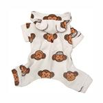 View Image 2 of Silly Monkey Fleece Hooded Dog Pajamas by Klippo - White