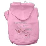 View Image 1 of Snowman's Best Friend Rhinestone Dog Hoodie - Light Pink