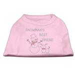 Snowman's Best Friend Rhinestone Dog Shirt - Light Pink