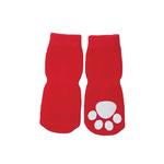 View Image 1 of Solid Slipper Dog Socks - Red
