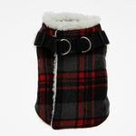 View Image 1 of Step In Wrap Dog Coat - Red Plaid