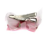 View Image 2 of Strawberry Dog Hair Bow with Alligator Clip - Pink