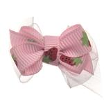 View Image 1 of Strawberry Dog Hair Bow with Alligator Clip - Pink