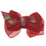 View Image 1 of Strawberry Dog Hair Bow with Alligator Clip - Red