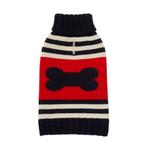 View Image 1 of Striped Bone Turtleneck Dog Sweater by Fab Dog - Navy and Red